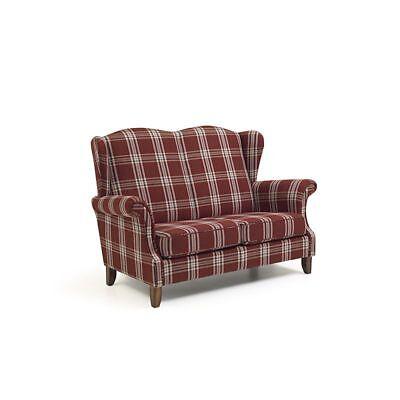 Klassisches Sofa 2-Sitzer kariert hohe Rückenlehne Flachgewebe Wohnzimmer Couch ()