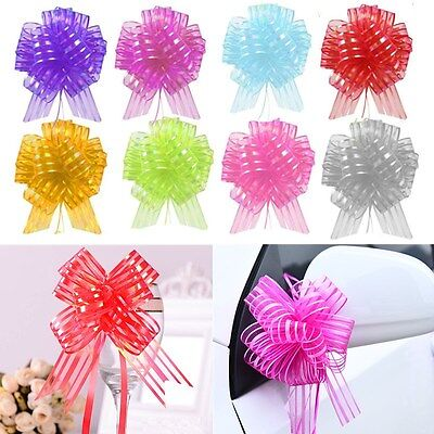 10pcs Large Organza Ribbon Wedding Car Party Decoration Gift Wrap 50mm Pull Bows](Wedding Car Decoration)