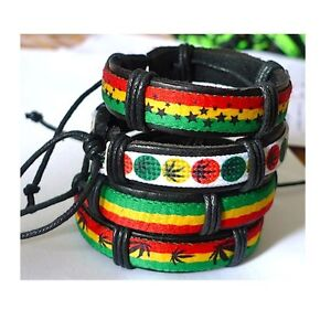 Popular-Hot-Reggae-Bob-Marley-Rasta-Hiphop-Leather-Bracelet-4-Pcs