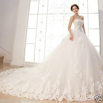 New White Ivory Cathedral Wedding Dress Bridal Gown Size 4 6 8 10 12 14 16 18
