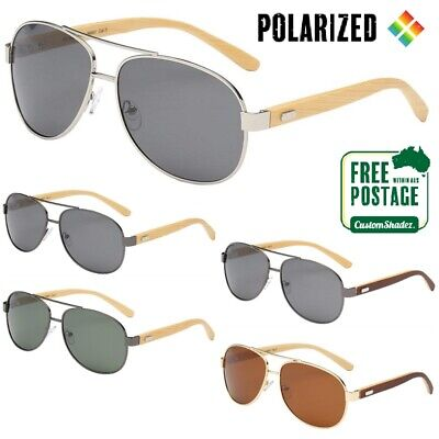 Polarised Sunglasses - Mens / Womens Pilot Style Frame - Wooden Arms Polarized