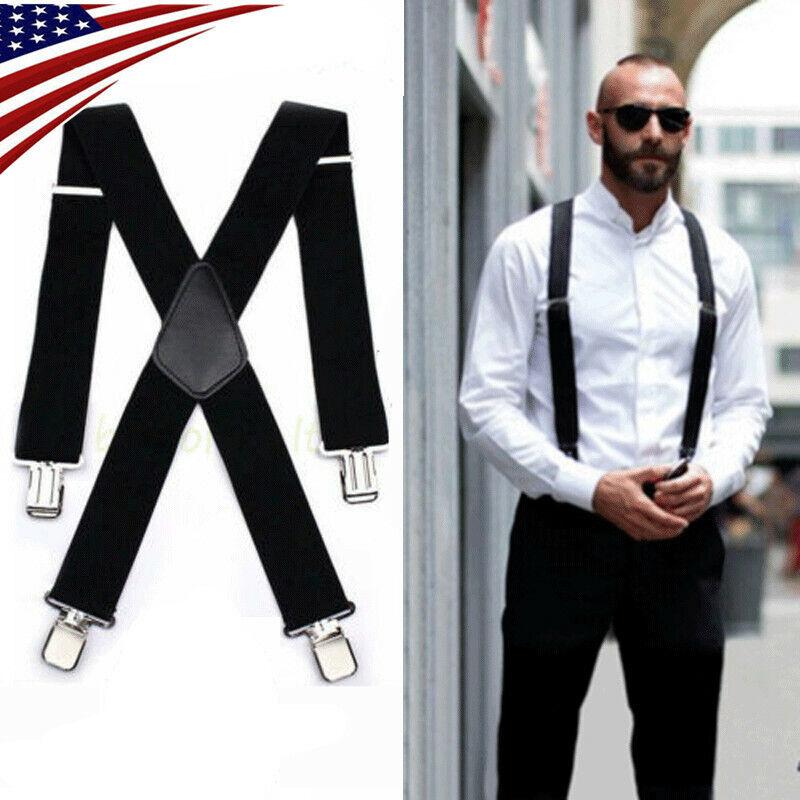 "Mens Black Elastic Suspenders Leather Braces X-back Adjustable Clip-on 2"" Width"