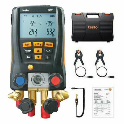 Testo 557 Refrigeration Digital Manifold Kit Hvac Gauge System W 2pcs Ntc Clamp