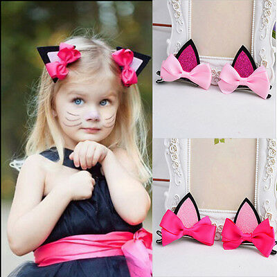 1 Pair Fashion Kids Baby Girls Cat Ears Hairpins Bow  Hair Clip PartyDressCuteG7 - Baby Cat Ears