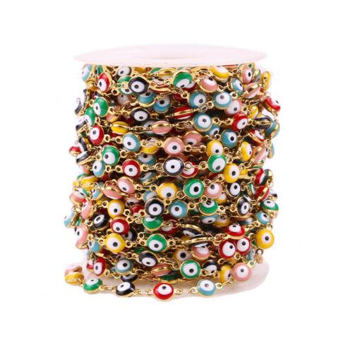 1 Meter 6mm Stainless Steel Evil Eye Chain Evil Eye Rosary Beads Chain Findings