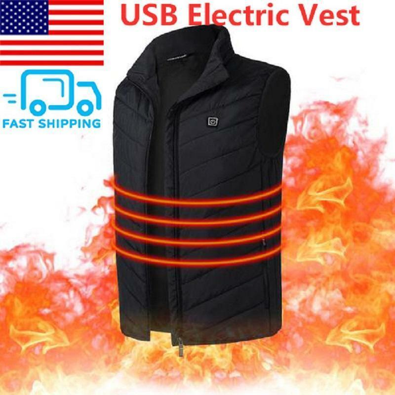 Electric USB Winter Heated Warm Vest Men Women Heating Coat