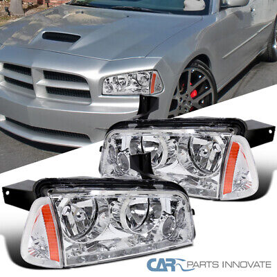 For 06-10 Dodge Charger Clear Headlights Headlamps+Turn Signal Lamps Left+Right
