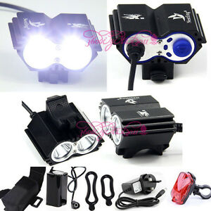 5000Lm 2x CREE XM-L U2 LED Front Headlamp Bicycle Bike Light Torch Headlight