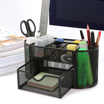 Desk Organizer Pen Pencil Holder Storage Tray Desktop Office Metal Mesh Black