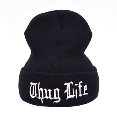 Unisex Beanie Thug Life Cap Hat Hip Hop Winter Gangsta Rap Men Women Casual