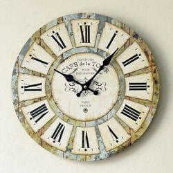 Large Wall Clock Big Vintage Rustic Antique Oversized Distressed Roman Numerals