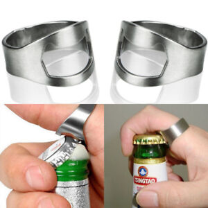 Beer Bottle Opener Stainless Steel Finger Thumb Ring Bar Party
