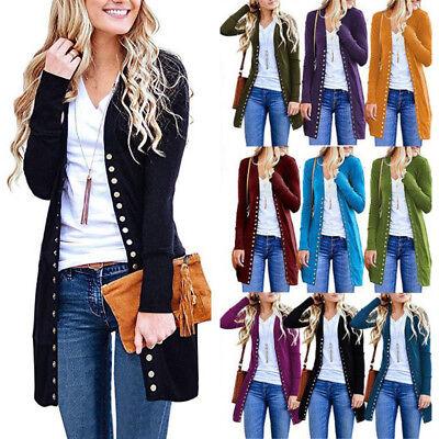 UK Women Autumn Blouse Long Sleeve Casual Button Cardigan Ladies Coat Jacket Top