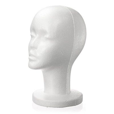 Female White Foam Styrofoam Mannequin Hat Cap Dummy Wig Head Display Holder N8v7