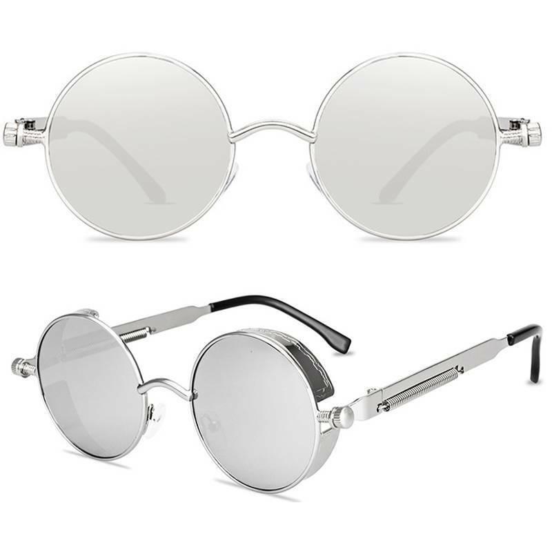 Vintage Retro Steampunk Sunglasses Men Womens Fashion Metal Round Punk Glasses
