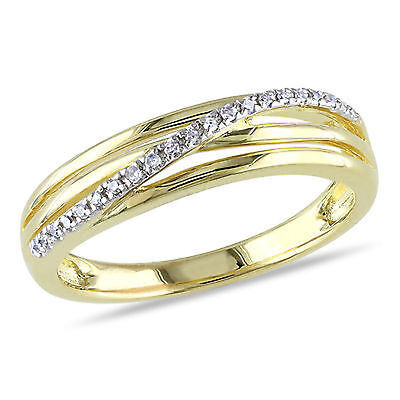Yellow Sterling Silver Diamond Accent Fashion Twist Crossover High-Polish -