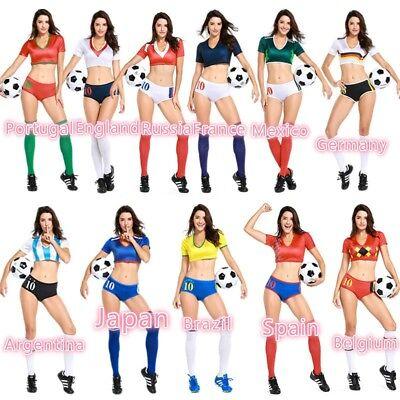 Women Cheerleader World Football Girl Costume Soccer Fancy Suit Outfit Uniform ()