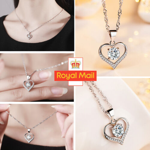 Jewellery - Women Heart Charm Crystal Pendant 925 Sterling Silver Chain Necklace Jewellery J