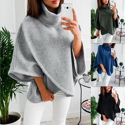 Damen Hoher Kragen Pullover Langarm Cape Jacken Poncho Tops Sweater Mantel Coat