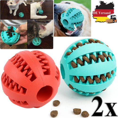 DE 2x Hunde Spielzeug Bälle Ball Kauspielzeug Snackball Zahnreinigung Zahnpflege