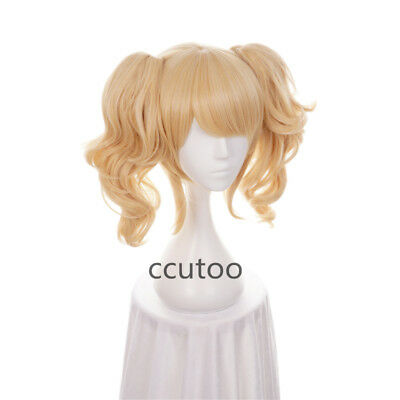 Harley Quinn Blonde Hair (Batman Harley Quinn Golden Blonde Mix Curly Synthetic Hair Cosplay Costume)