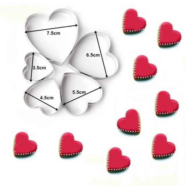 5 Heart Cookie Cutters Biscuit Pastry Baking Mold Cake Shaped Love Icing Decor