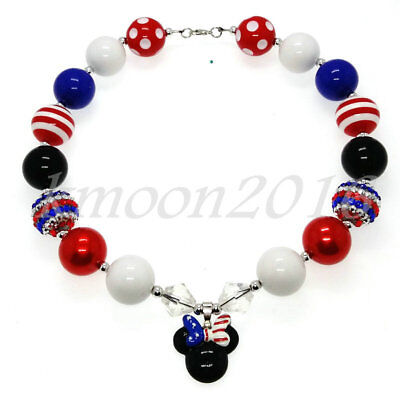 New Chunky Gumball Beads Bubblegum Necklace Blue Red Mickey for Kids X-MAS Gift (Bubblegum Necklace Beads)