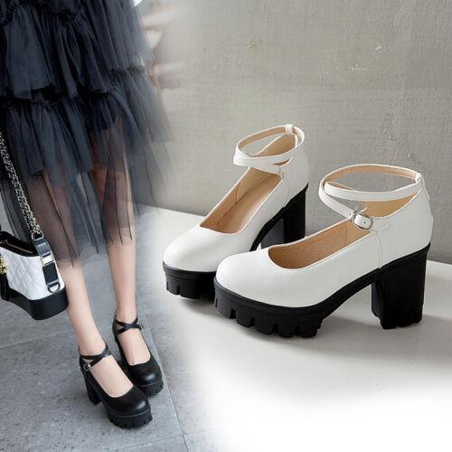 Elegant Damen Platform Schnalle Mary Jane Pumps Knöchelriemen Blockabsatz Schuhe