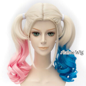 Blue Pink Mixed Blonde Anime Cosplay Wig for Batman Harley Quinn + 2 Ponytails