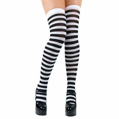 White Witch Alice In Wonderland (CANDYSTRIPE THIGH HIGHS / BLACK AND WHITE - FANCY)