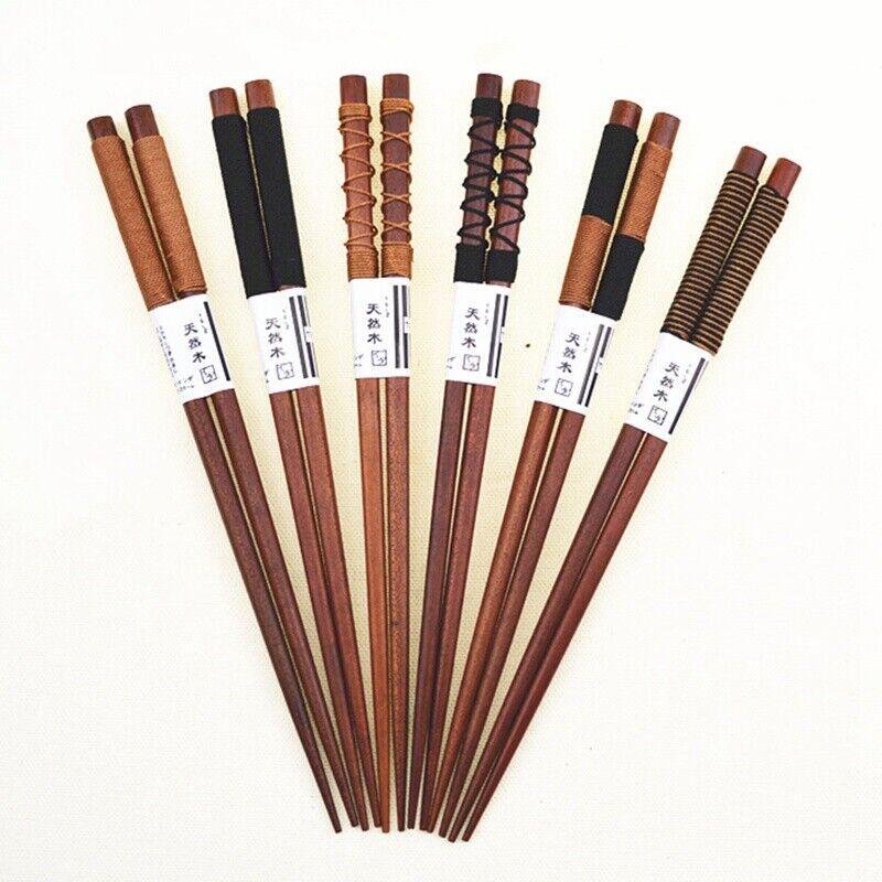 6Pair//set Handmade Wooden Chopsticks Classic Japanese Natural Chestnut Wood Gift