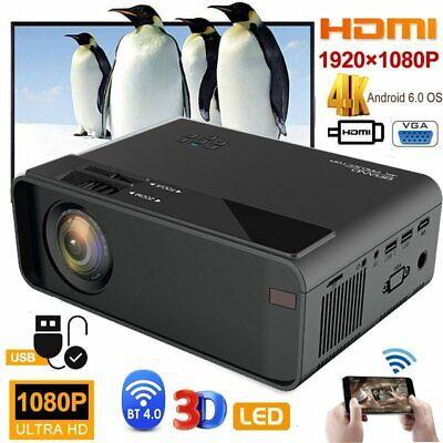 Smart WiFi Android Video Projector HD 1080P Wireless LED Home Movie Media Player