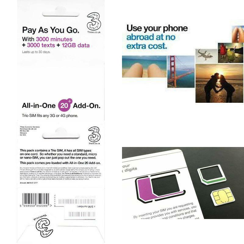 PrePaid Europe sim card 12GB data 3000 minutes 3000 texts fo