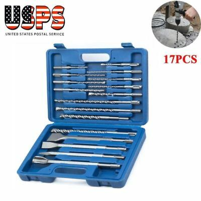 17pcs Rotary Hammer Drill Sds Plus Bit Bits Chisel Set Concrete Fits Hilti
