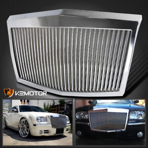 05-10 Chrysler 300 300C Vertical Phantom Style Front Bumper Hood Grille Chrome