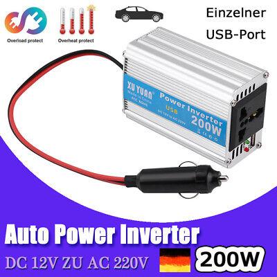 Auto Power Inverter Spannungswandler Wechselrichter USB Ladegerät 200W 12V 220V Auto-power-inverter