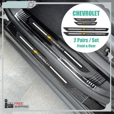 2Pairs For Chevrolet Carbon Fiber Car Door Welcome Plate Sill Scuff Cover Decal