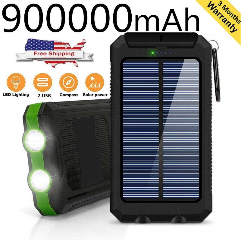 NEW Waterproof 900000mAh Portable Power Bank External Solar
