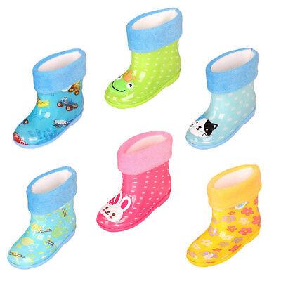 2-6T Baby Kid Toddler Winter Rain Boots Velvet Linen Rubber Anti-slip Rain Shoes (Infant Boots)