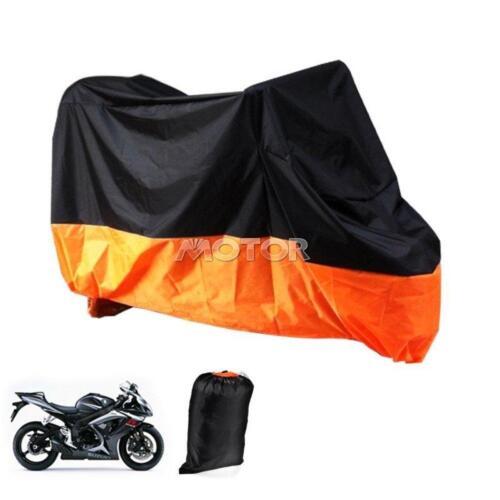 XXXL Motorcycle Cover Waterproof Outdoor UV Bike Rain Protector Black /& Orange
