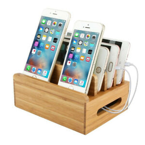 Brand New Bamboo Charging Station Dock Organizer Multi-device Co