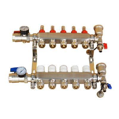 5-branch Pex Radiant Floor Heating Pipe Distributor Manifold Set