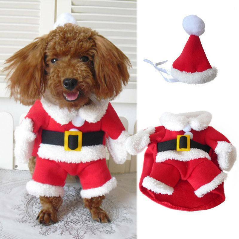 Christmas Pet Small Puppy Dog Cat Santa Claus Cape Coat Costume Outfit Cosplay 3