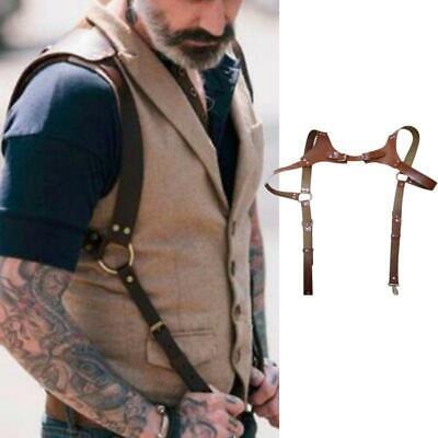 Men's Faux Leather Body Shoulder Harness Half Chest Cage Belt Bondage Clubwear Leather Half Harness