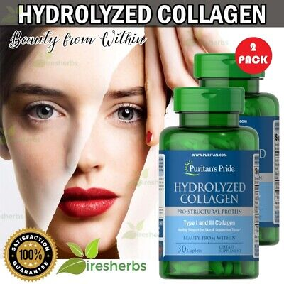 HYDROLYZED COLLAGEN 1000mg BEST Anti Aging Skin Bones Hair Supplement 60