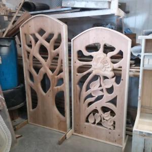 Custom hand carved fence gate