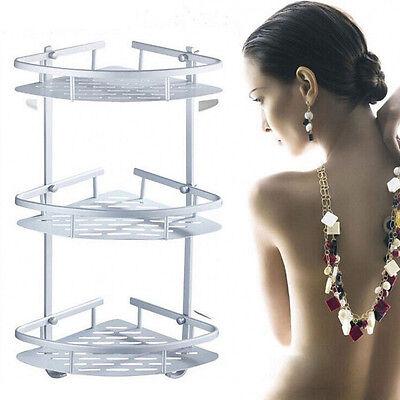 3 Layer Triangular Shower Shelf Bathroom Corner bath Rack Storage Basket Hanger