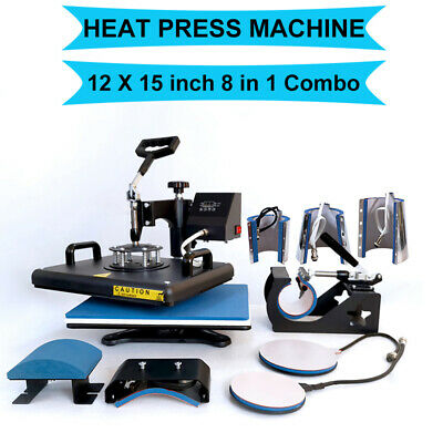 8 In1 Heat Press Machine Combo Digital Transfer Printing T-shirt Mug Hat 12x15