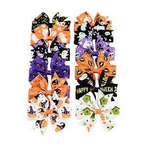 12pcs-Girls-Hair-Accessories-Halloween-Hair-clips-Party-Bows-Ribbon-Headwear-IY