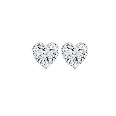 White Heart Cut Cubic Zirconia CZ Post Studs Solitaire Earrings a Jewelry Box